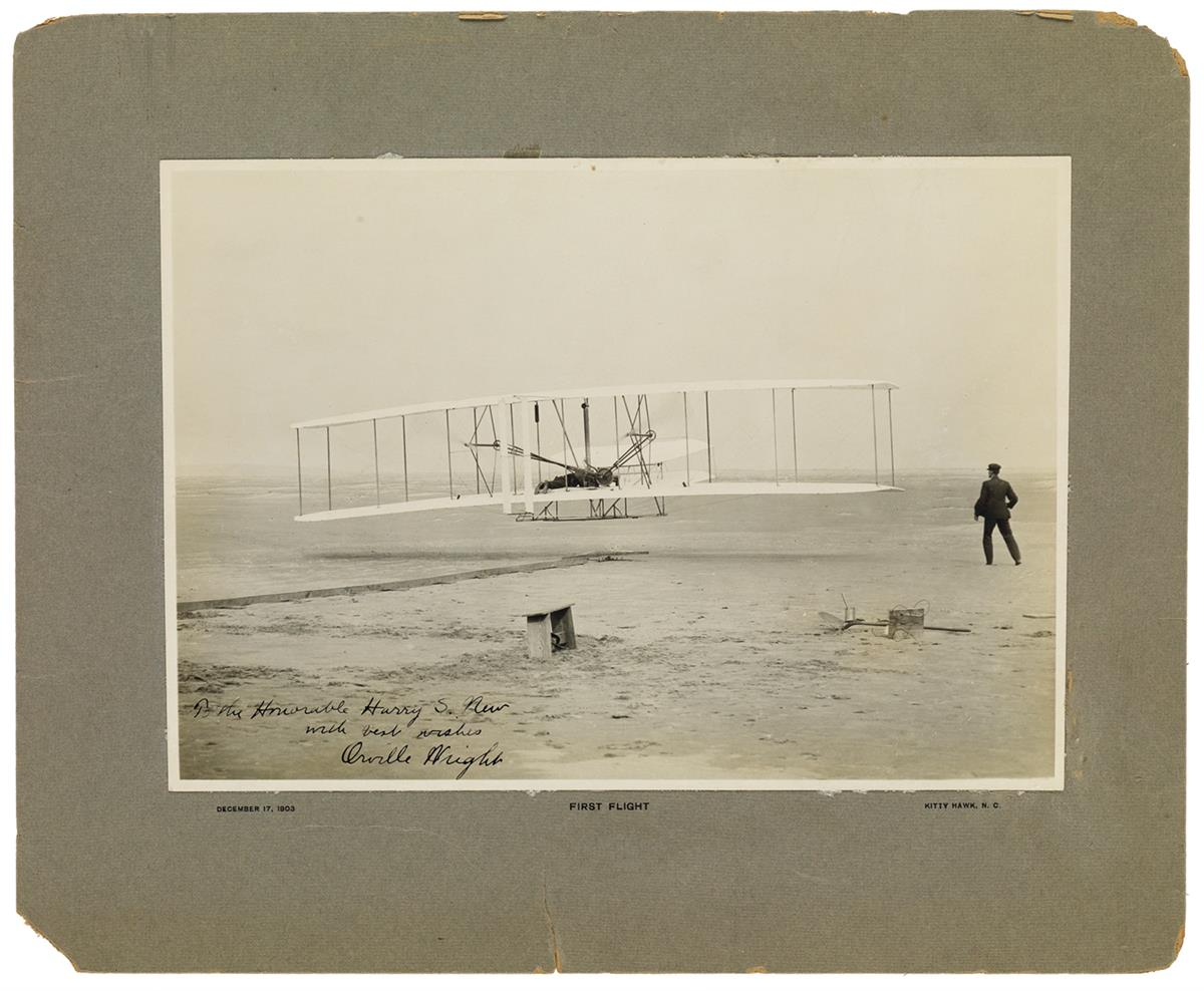 UNCOMMON SILVER PRINT (AVIATORS.) ORVILLE WRIGHT. Photograph Signed and Inscribed, To the Honorable Harry S....