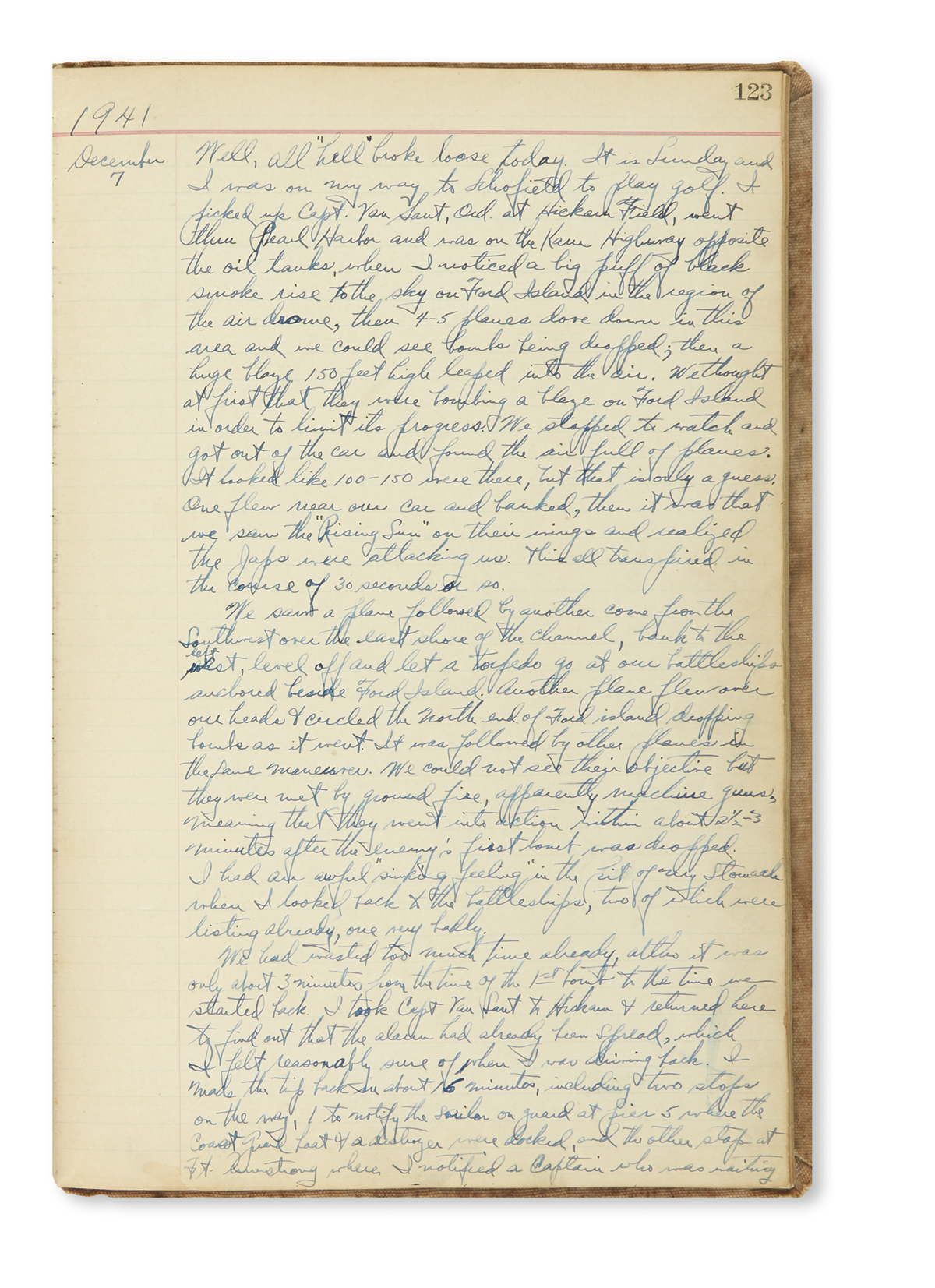 (WORLD WAR TWO). Manuscript history of an Hawaiian military base, with an appended eyewitness account of the attack on Pearl Harbor.