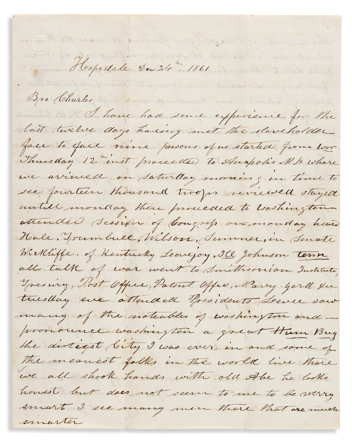 (SLAVERY AND ABOLITION.) James A. Whipple. Pair of letters from a radical abolitionist who toured Maryland and Virginia during the war.