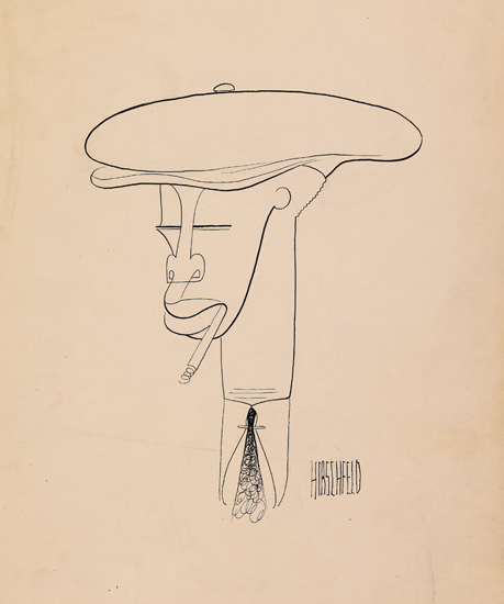 (ART.) HIRSCHFELD, AL. Man with cap and cigarette in his mouth (supplied title).