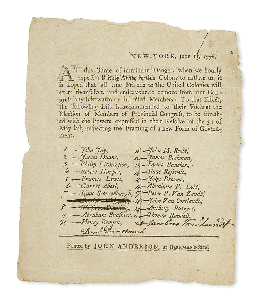 (AMERICAN REVOLUTION--1776.) Election circular for the New York Constitutional Convention reading At this time of imminent danger. . .