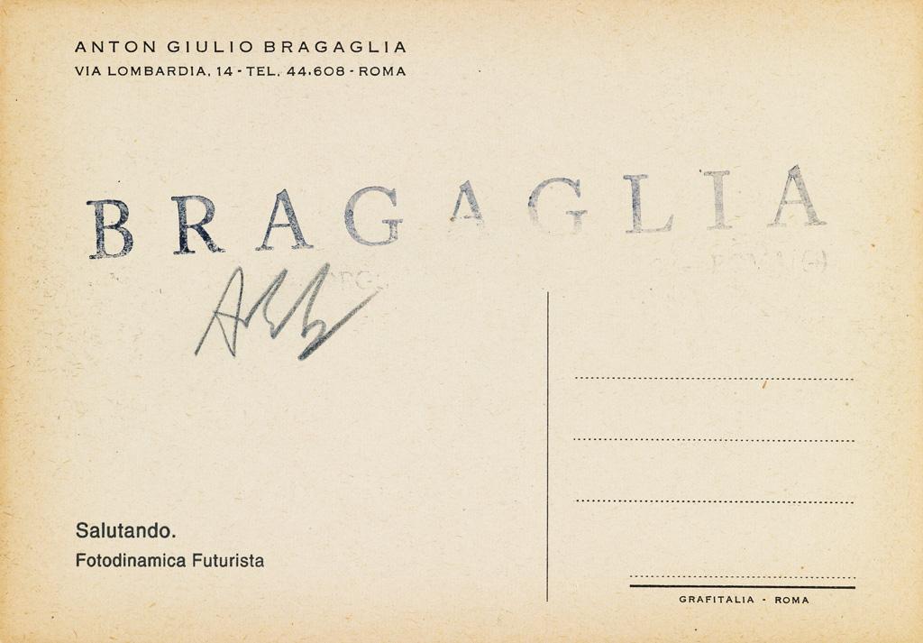 ANTON BRAGAGLIA (1889-1963) Salutando: Fotodinamica Futurista.
