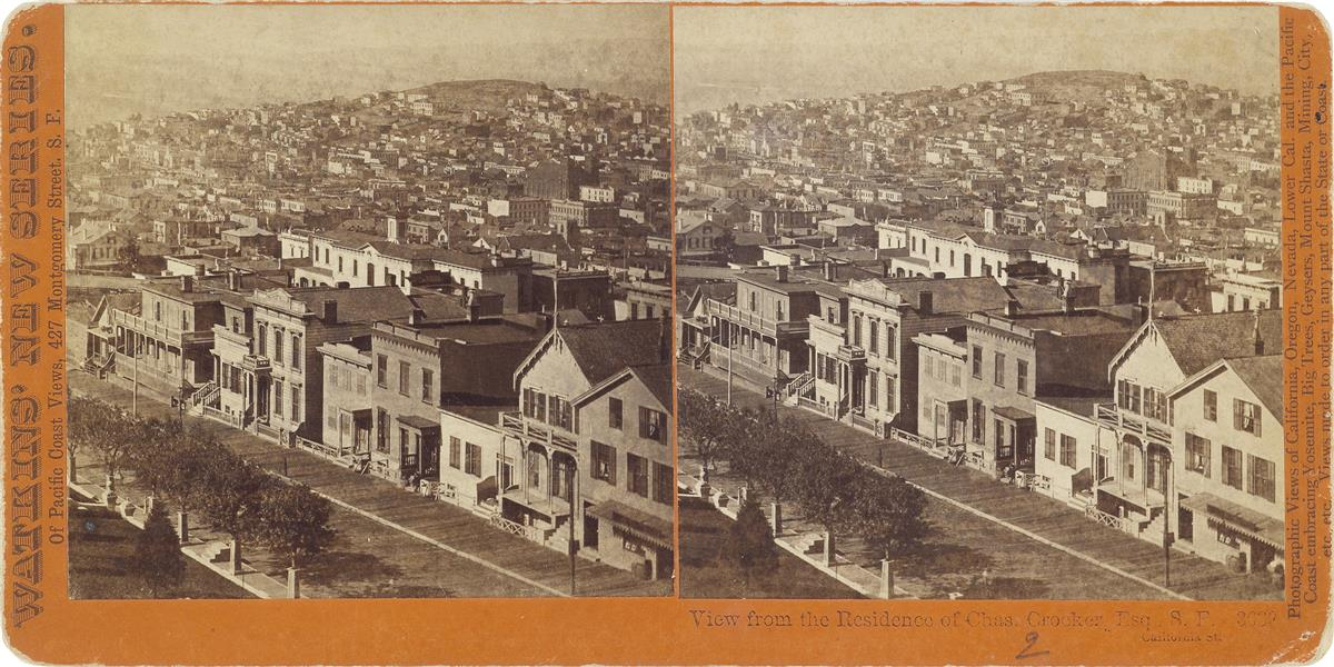 CARLETON E. WATKINS (1829-1916) Group of more than 85 scarce stereo views of San Francisco including street scenes, views from Telegrap