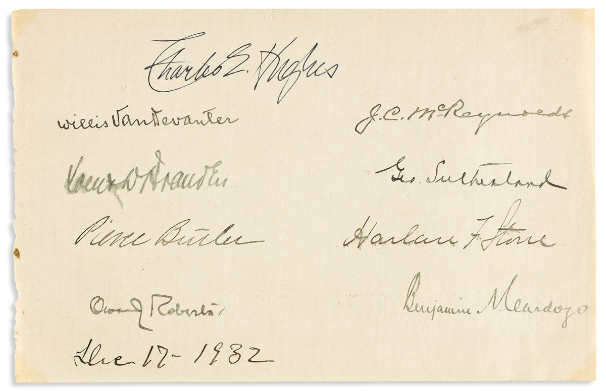 (SUPREME COURT.) Sheet Signed by each of the nine Justices of the Hughes Court.