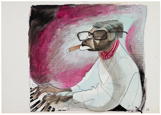 "(ART.) HIRSCHFELD, AL. Original ink and watercolor drawing of Earl ""Fatha"" Hines."