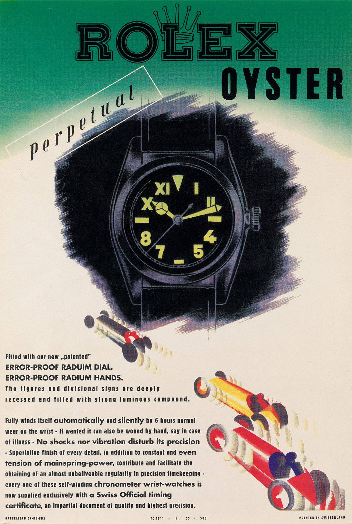 DESIGNER UNKNOWN. ROLEX OYSTER / PERPETUAL. Circa 1942. 24x17 inches, 63x43 cm. Haefeli & Co., Switzerland.