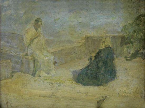 HENRY-OSSAWA-TANNER-(1859---1937)-Christ-and-Nicodemus-(Earl
