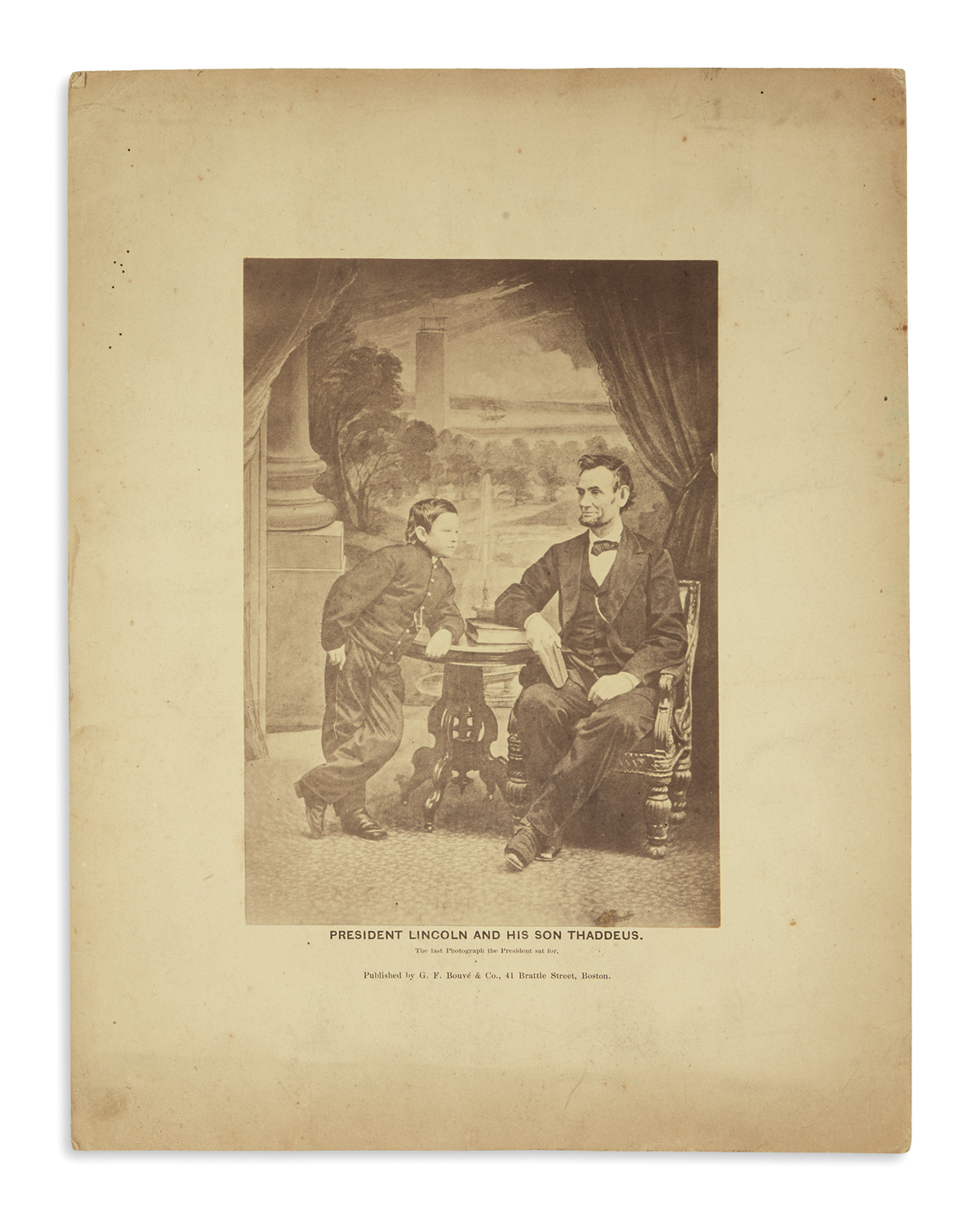 (PHOTOGRAPHY)-[Gardner-Alexander;-photographer]-President-Lincoln-and-his-Son-Thaddeus-the-Last-Photograph-the-President-Sat-For