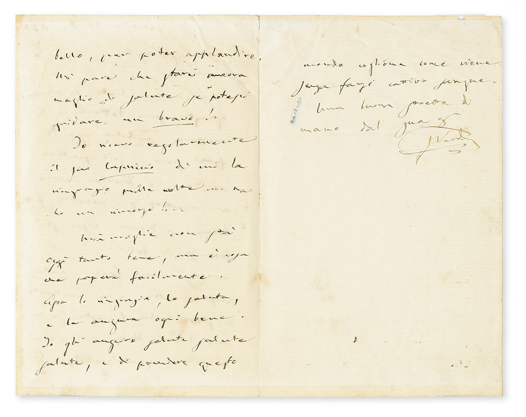 VERDI, GIUSEPPE. Autograph Letter Signed, GVerdi, to his librettist Antonio Ghislanzoni (Dear Ghislanzoni), in Italian,