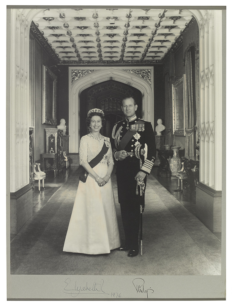 ELIZABETH II; QUEEN OF ENGLAND; AND PHILIP; DUKE OF EDINBURGH. Large Photograph Signed, by both,
