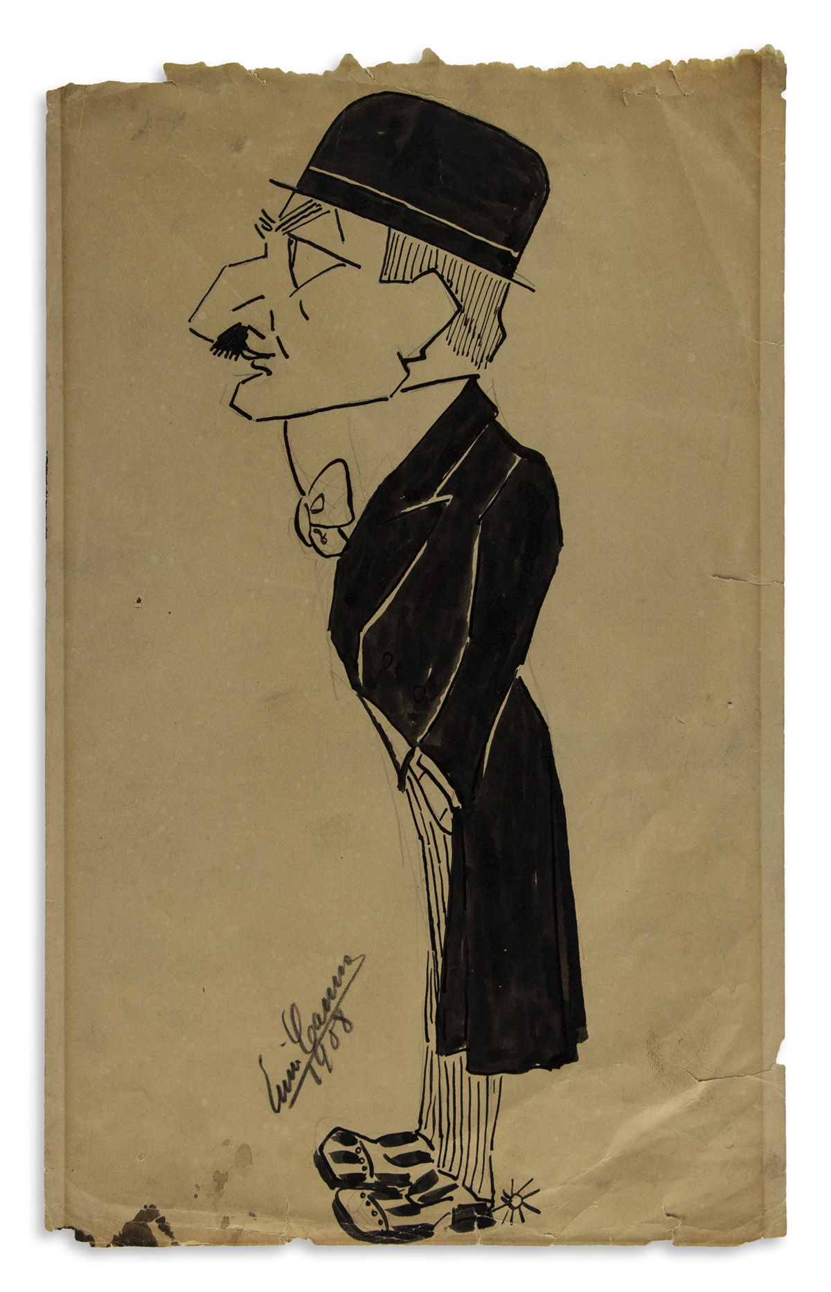 CARUSO, ENRICO. Ink and wash drawing, dated and Signed, full-length caricature, showing a man [piano maker Charles Mehlin] in profile w