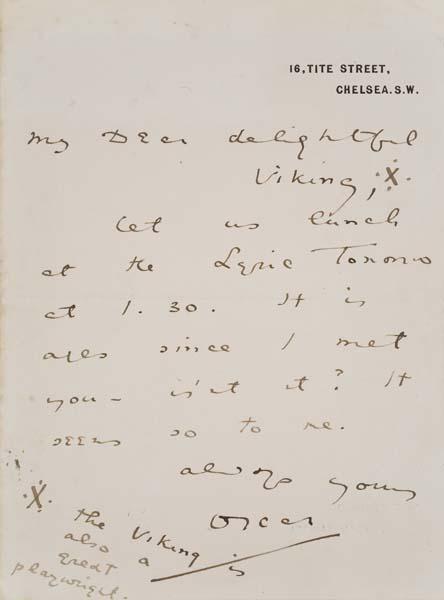 WILDE, OSCAR. Autograph Letter Signed, Oscar