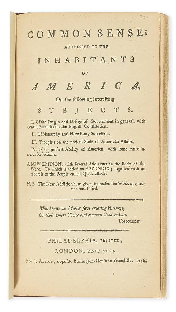 (AMERICAN REVOLUTION.) [Paine, Thomas.] Common Sense; Addressed to the Inhabitants of America.