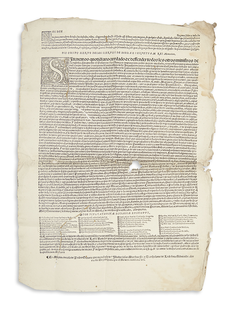 (MEXICAN IMPRINT--1569.) Pius V, Pope. Papal bull establishing the Spanish Inquisition in the Americas.