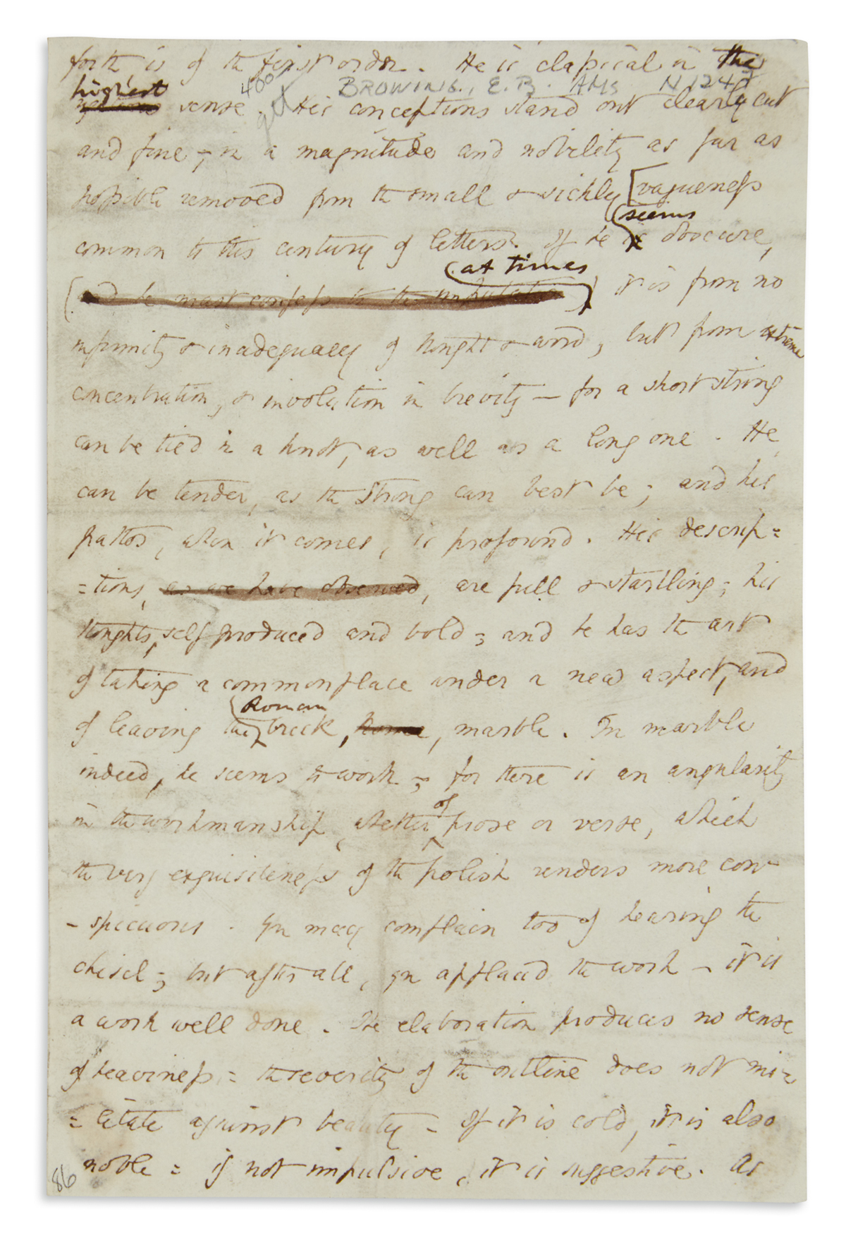 ELIZABETH BARRETT BROWNING. Autograph Manuscript, unsigned, working draft with a few holograph corrections, a 24-line fr...