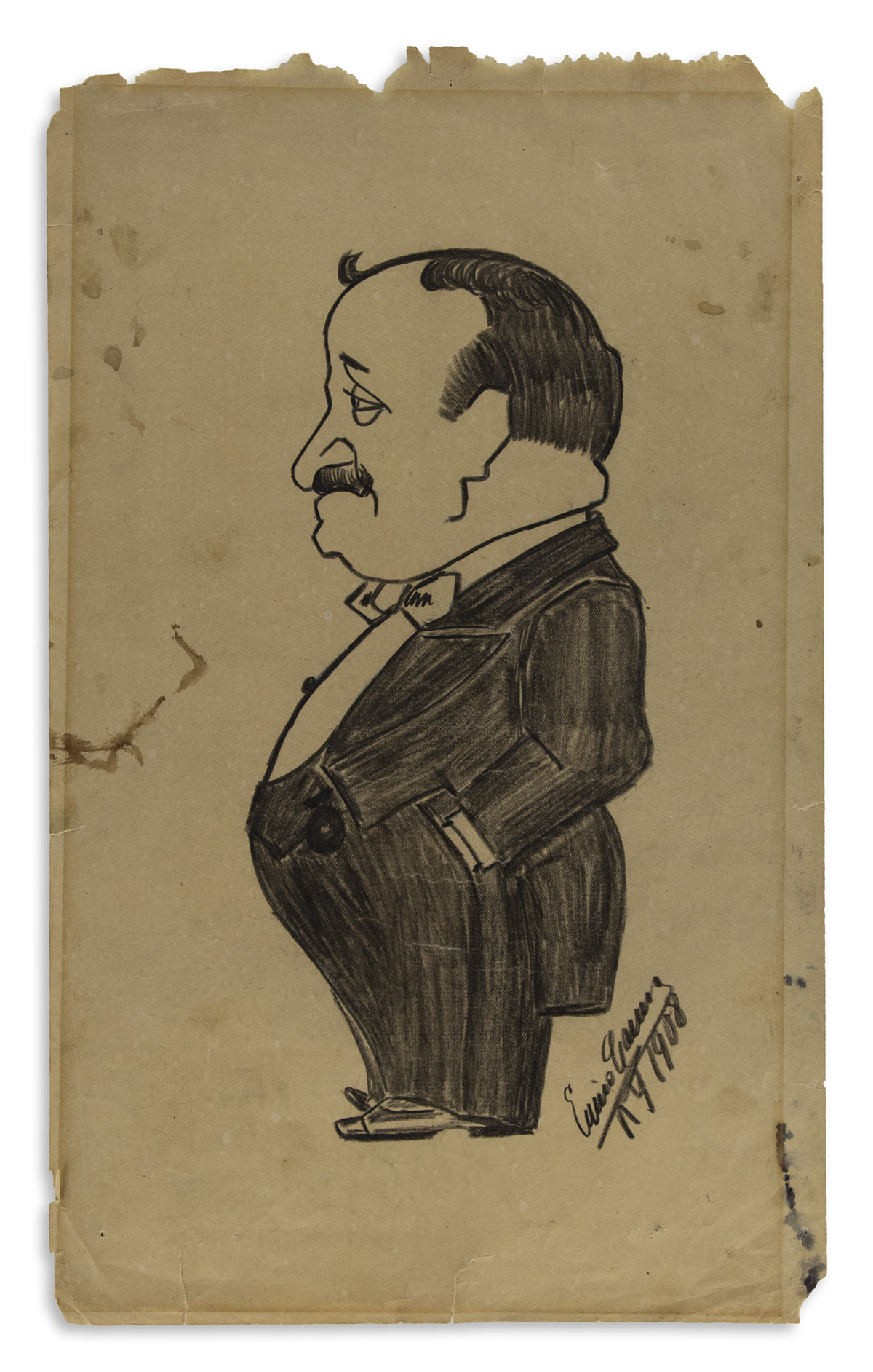 CARUSO, ENRICO. Graphite drawing, dated and Signed, full-length caricature, showing a portly man [Milan tenor Dante Del Papa] in profil
