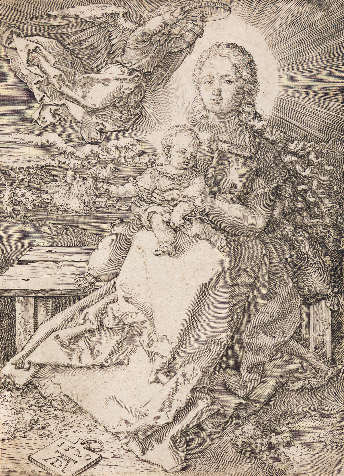 ALBRECHT DÜRER The Virgin and Child Crowned by One Angel.