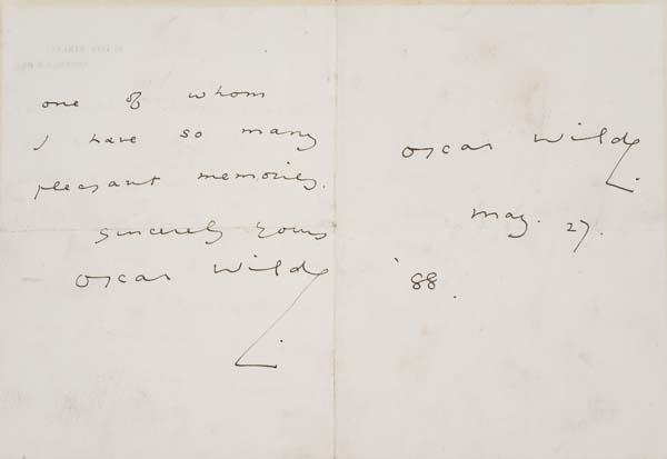WILDE, OSCAR. Autograph Letter Signed, twice,