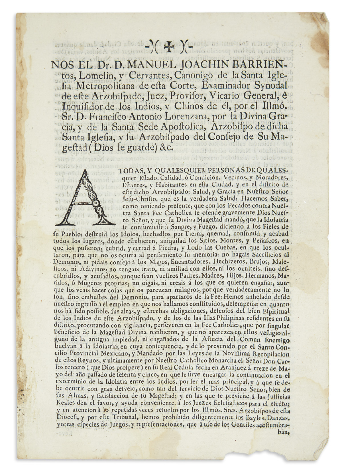 (MEXICAN IMPRINT--1769.) Barrientos Lomelin, Manuel Joaquín. Inquisition decree on the extermination of idolatry among the Indians.