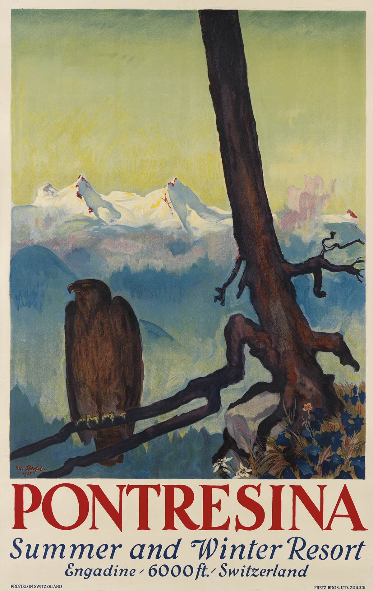 EDUARD STIEFEL (1875-1967). PONTRESINA. 1927. 39x24 inches, 100x63 cm. Fretz Bros. Ltd., Zurich.