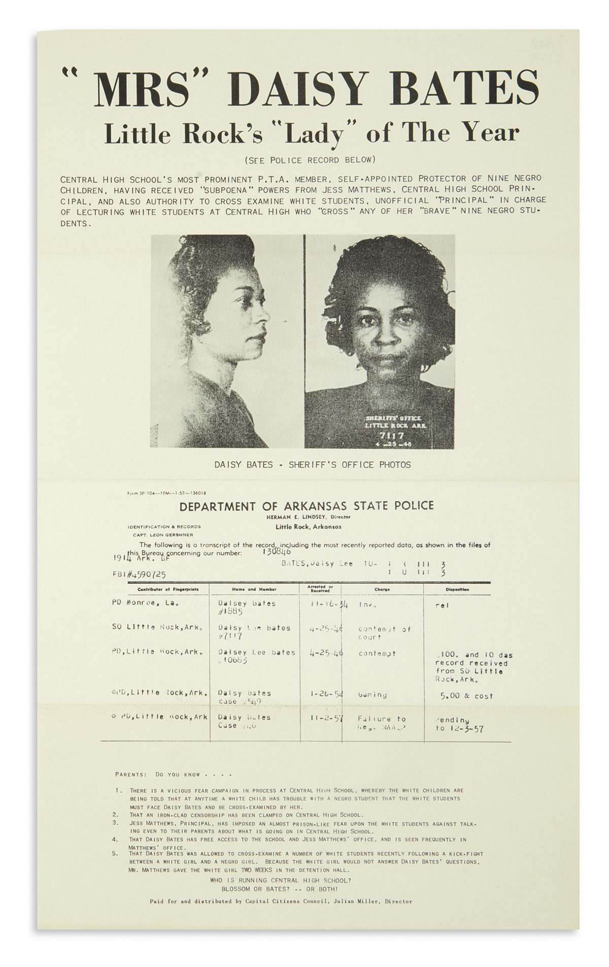 (CIVIL RIGHTS.) Racist flier issued to discredit Daisy Bates, leader of the Little Rock desegregation effort.