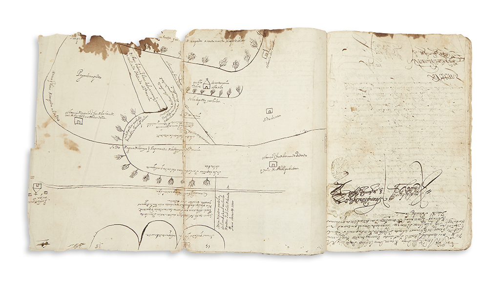 (MEXICAN MANUSCRIPTS.) Colonial land dispute file from Querétaro, illustrated with a manuscript map.