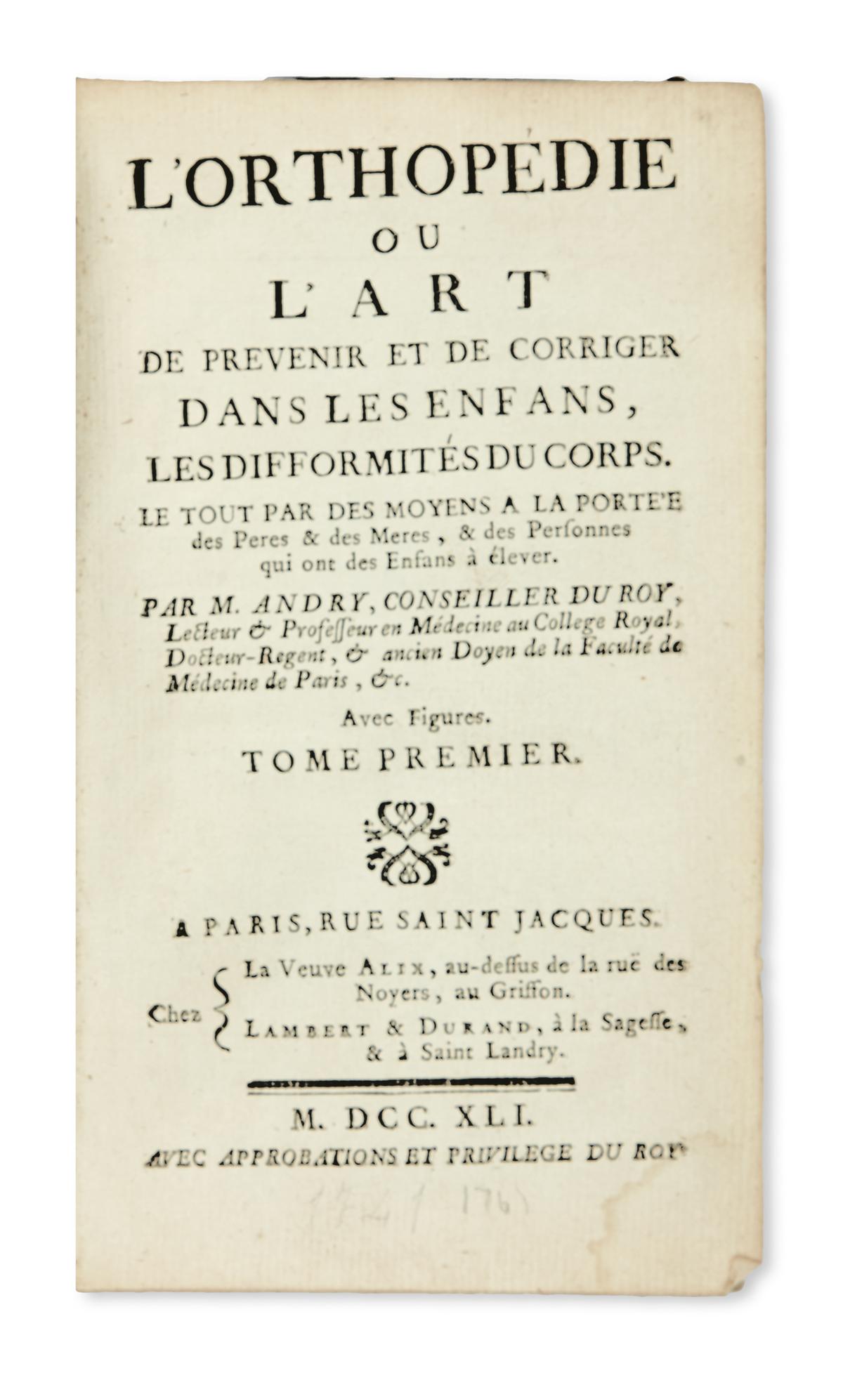 MEDICINE--ANDRY-NICOLAS--LOrthopédie--2-vols--1741--Sizes-an