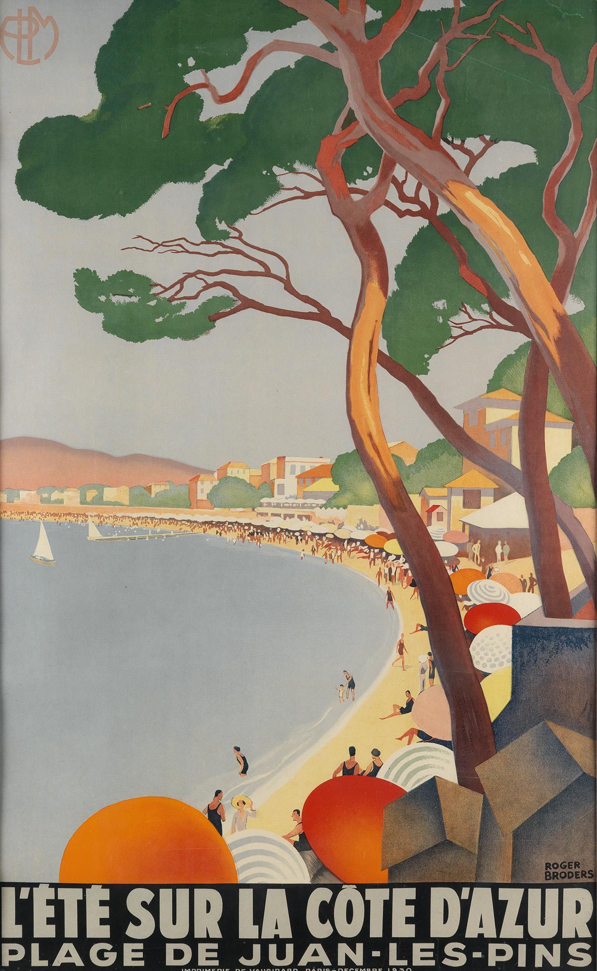 ROGER-BRODERS-(1883-1953)-LÉTÉ-SUR-LA-CÔTE-DAZUR-1930-39x24-