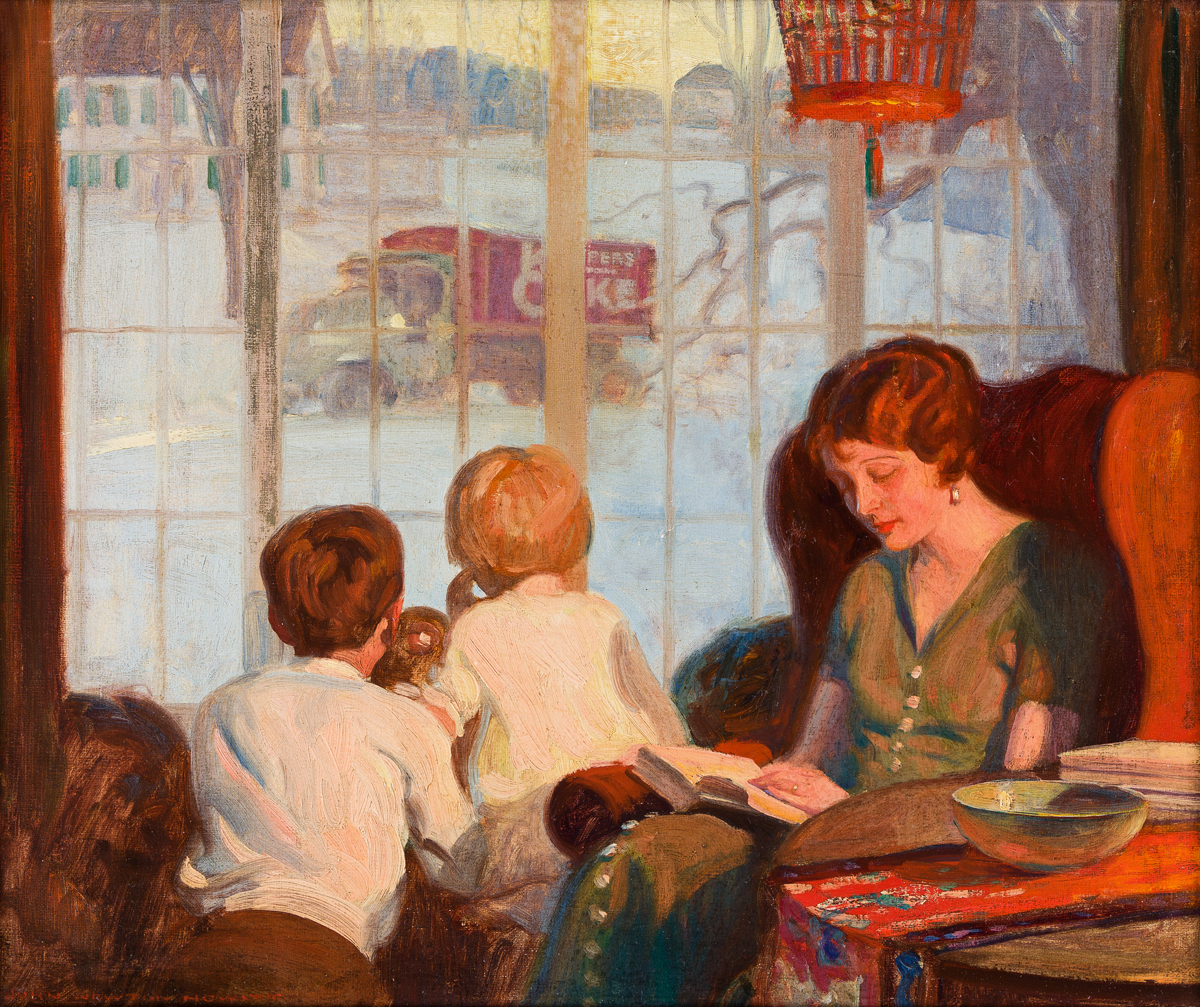 JOHN NEWTON HOWITT (1885-1958) Mother and Children on a Snowy Day. [ADVERTISING]