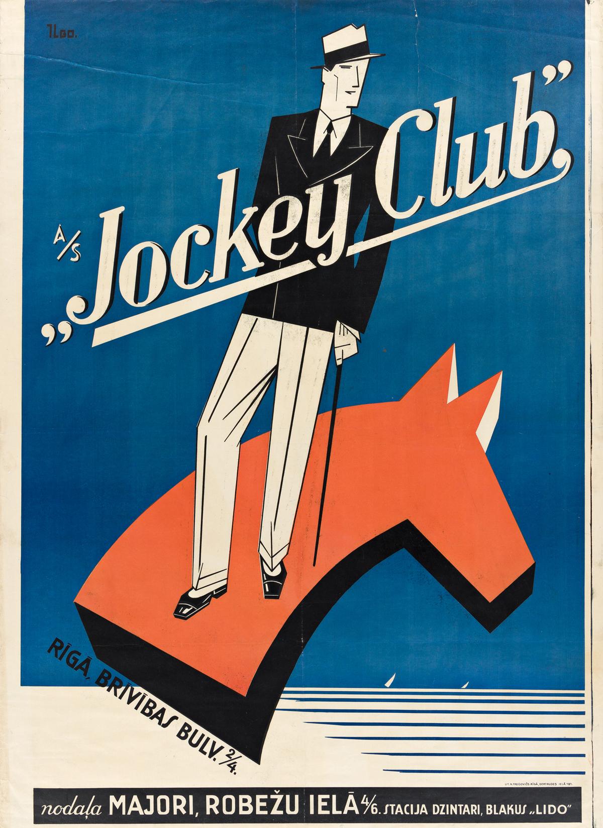 DESIGNER UNKNOWN.  JOCKEY CLUB. 1930s. 41¼x30 inches, 105x76¼ cm. N. Freidovics, Riga.