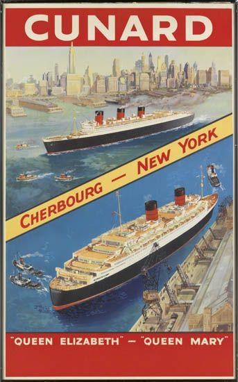 (CUNARD LINE.) The Queens. Cunard. Cherbourg - New York. Queen Elizabeth - Queen Mary.