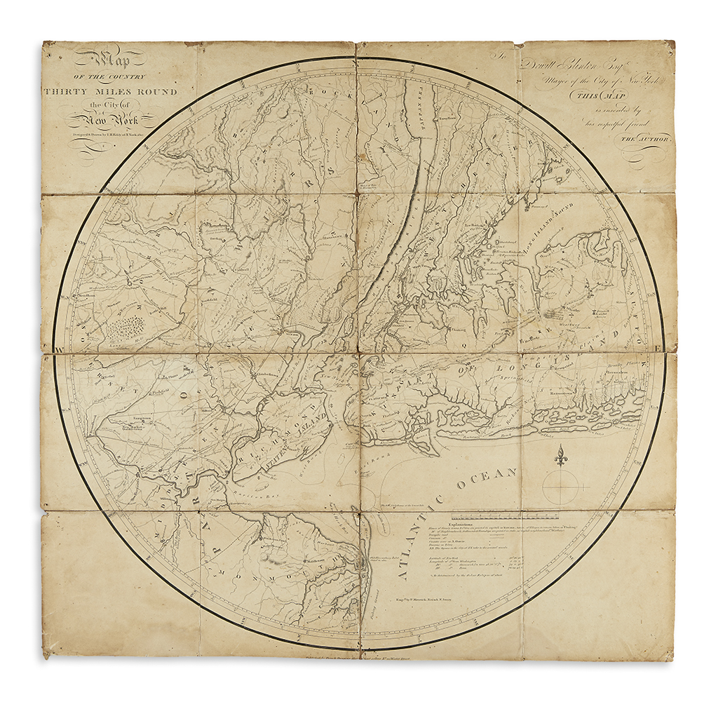 (NEW YORK.) Eddy, John. Map of the Country Thirty Miles Round the City of New York.