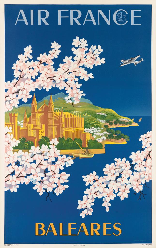 LUCIEN-BOUCHER-(1889-1971)-AIR-FRANCE--BALEARES-1951-39x24-inches-99x63-cm-Perceval-Paris
