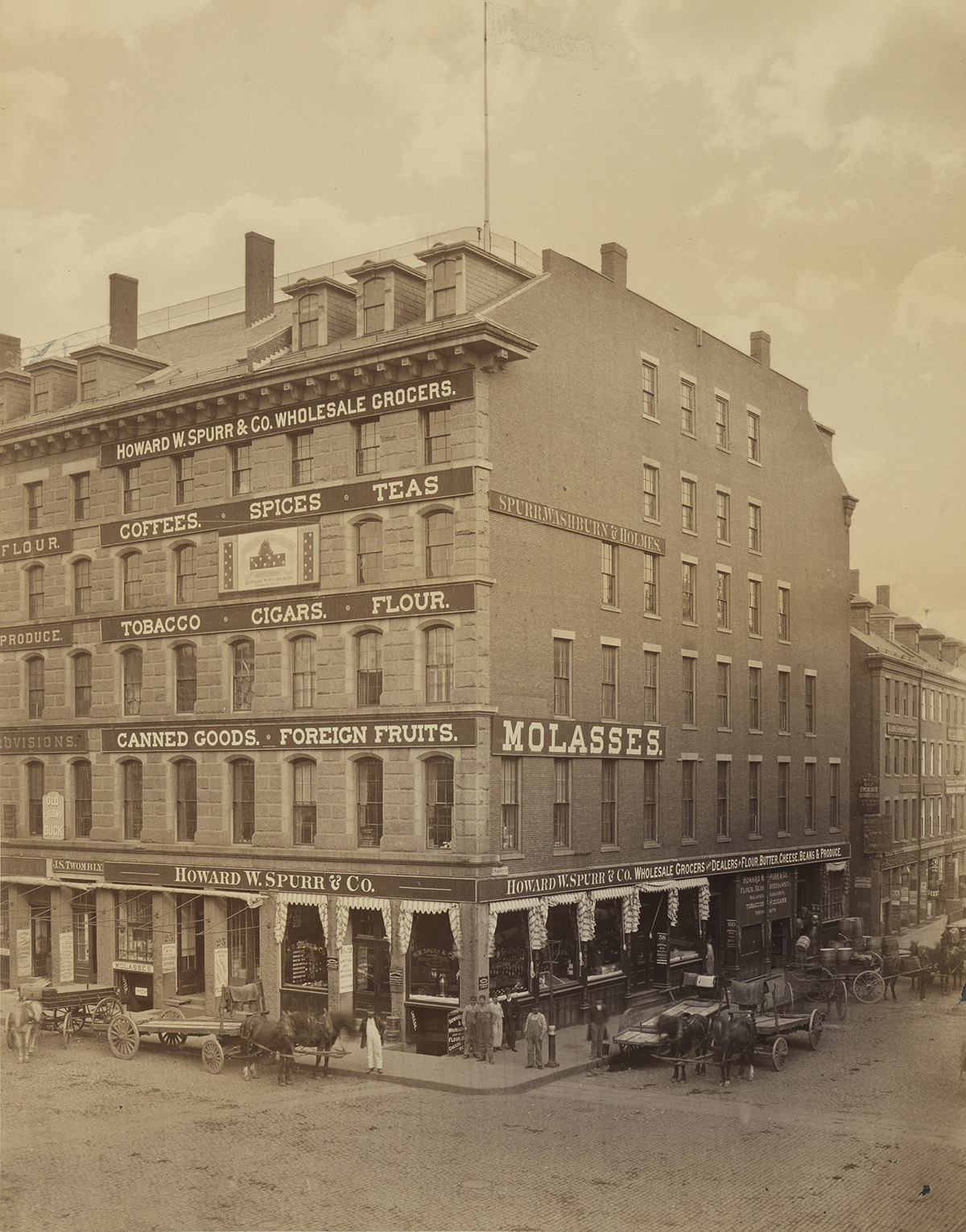 A.H. FOLSOM (1846-1926) A view of Howard W. Spurr & Co. Grocers on the corner of Commercial and South Market Streets, Boston, Massach