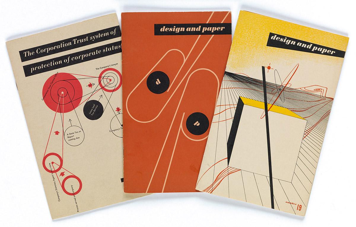 LADISLAV SUTNAR (1897-1976).  DESIGN & PAPER. Group of 3 brochures. 1940s. Each 8x5 inches, 20¼x12¾ cm.
