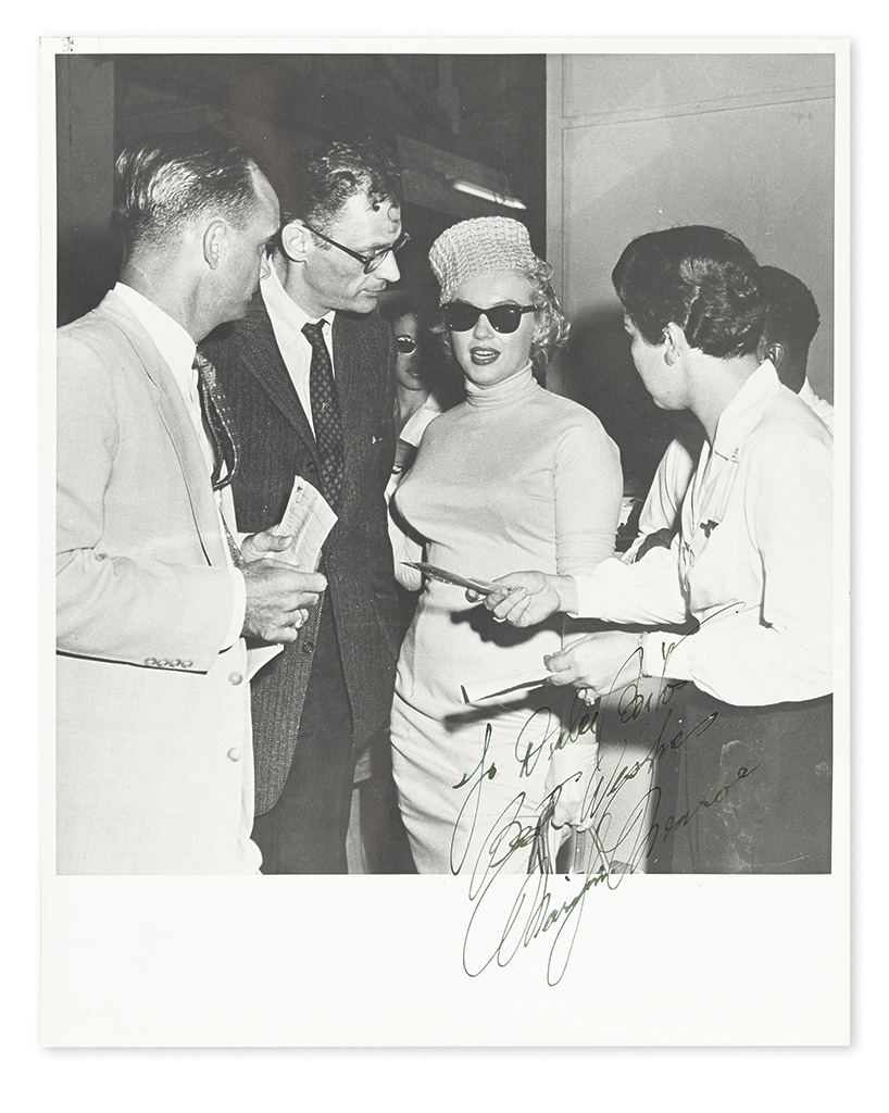 MONROE, MARILYN. Photograph Signed and Inscribed, To Dulce Brito / Best Wishes,