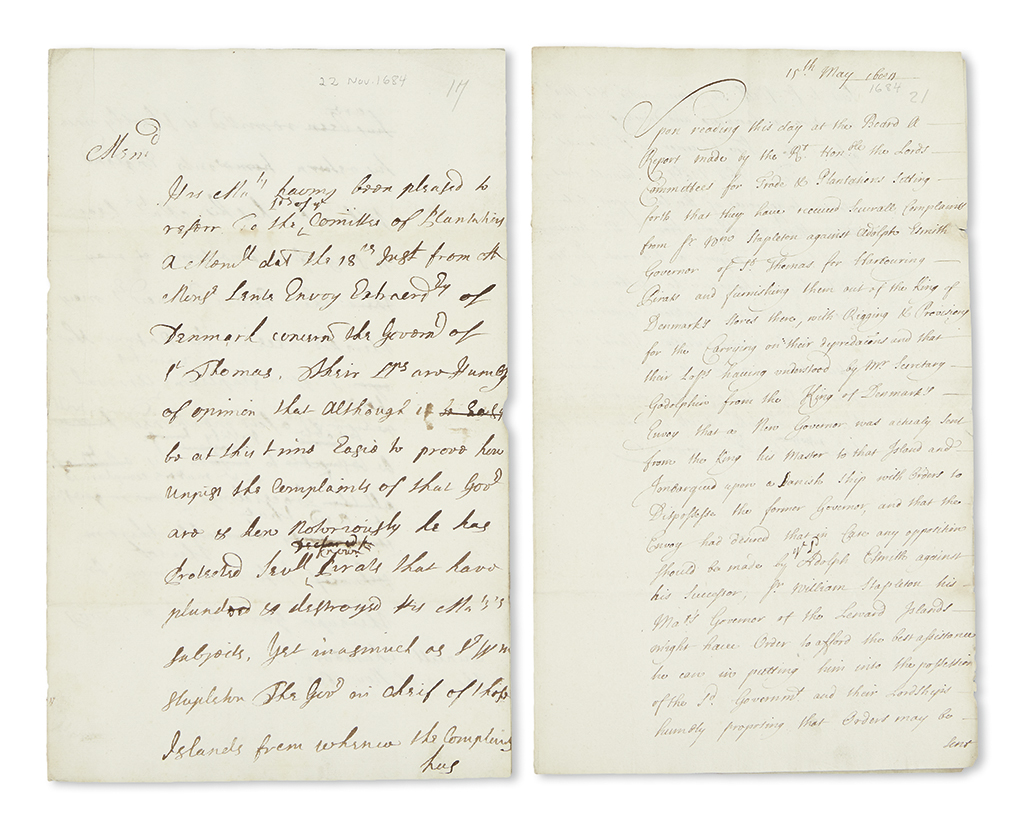 (PIRATES.) Pair of English reports on piracy complaints against Governor Adolph Esmit of Danish St. Thomas.