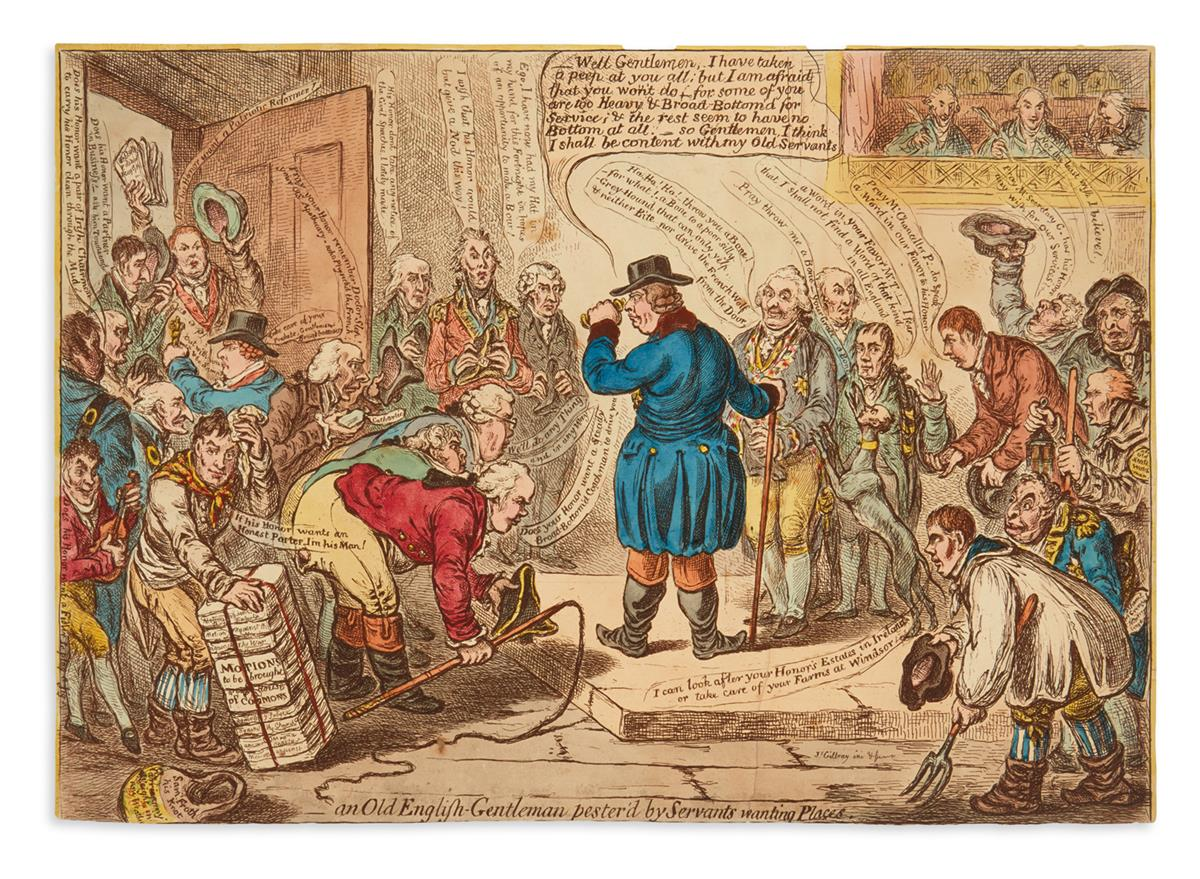 GILLRAY-JAMES-An-Old-English-Gentleman-Pesterd-by-Servants-Wanting-Places