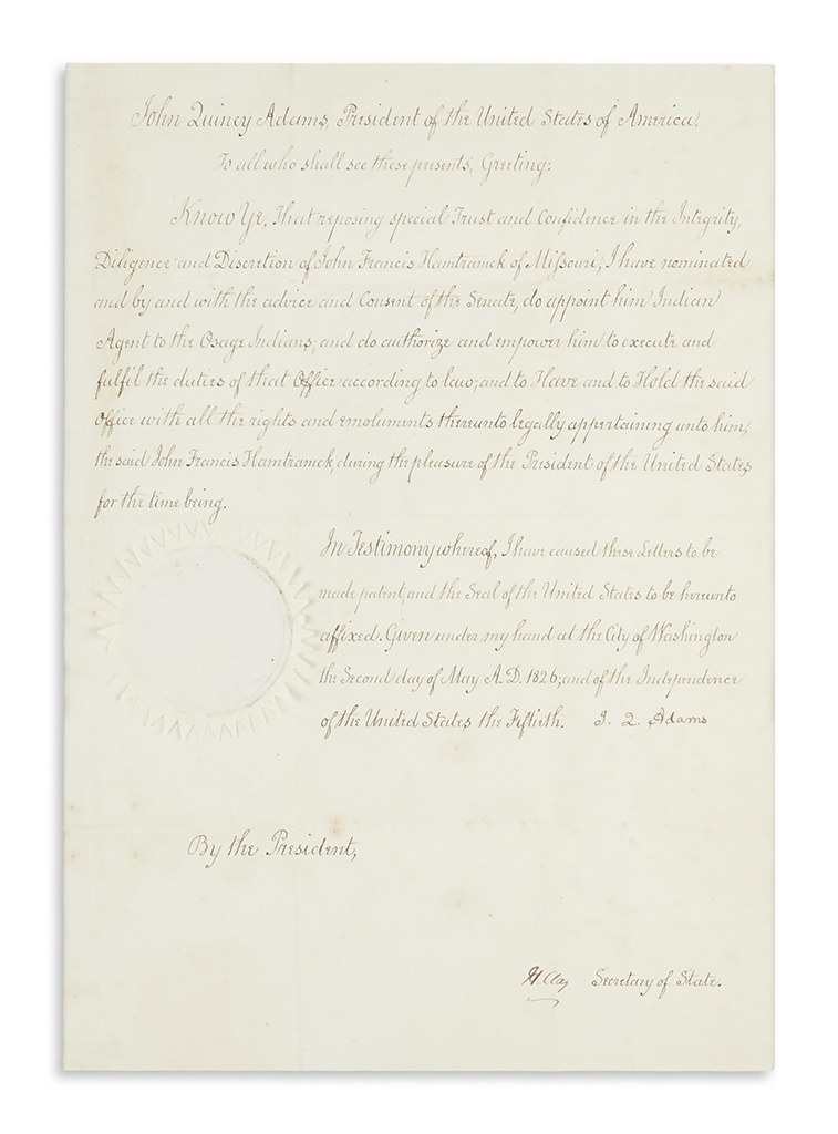 ADAMS, JOHN QUINCY. Document Signed, J.Q. Adams, as President, appointing John Francis Hamtramck Indian Agent to the Osage Indians.