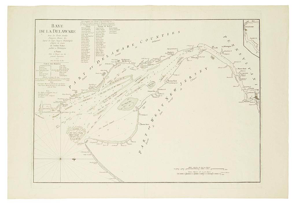 FISHER, JOSHUA; and LE ROUGE, GEORGE LOUIS. Baye De La Delaware Avec les Ports, Sondes, Dangers, Bancs & c.