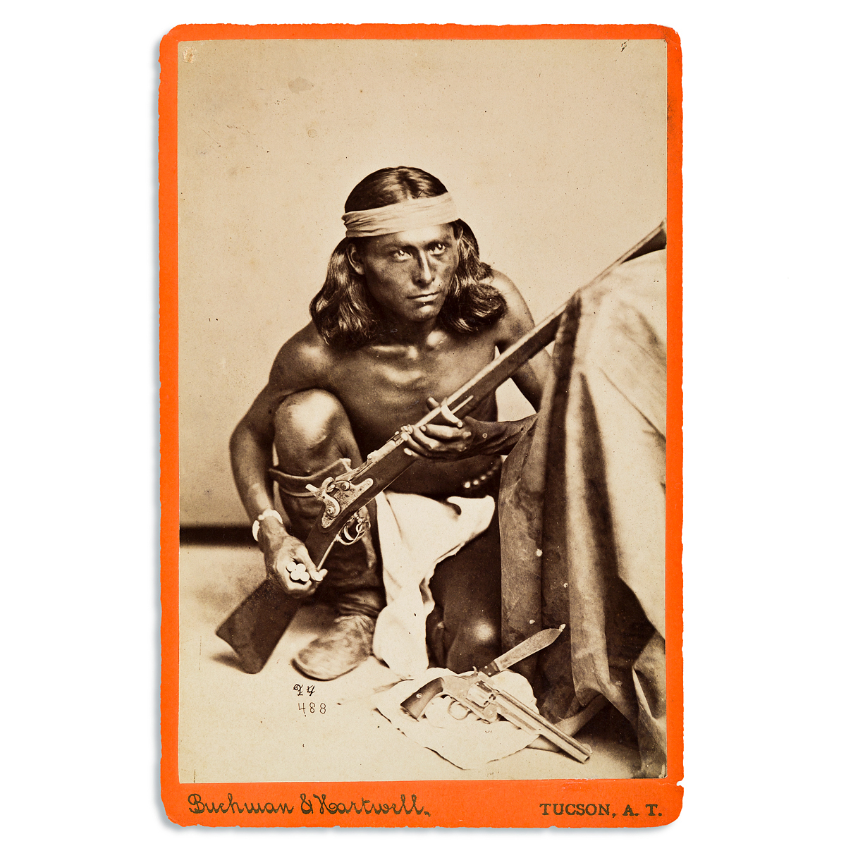 (AMERICAN-INDIANS--PHOTOGRAPHS)-Cabinet-card-of-the-Apache-s