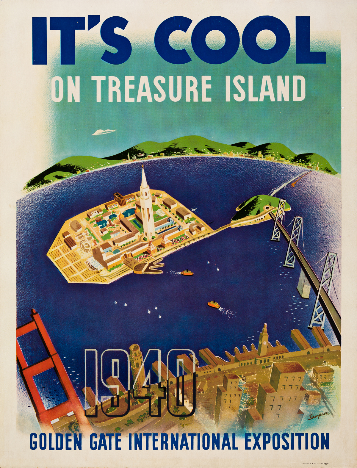 Sampson (Dates Unknown).  ITS COOL ON TREASURE ISLAND / GOLDEN GATE INTERNATIONAL EXPOSITION. 1940.