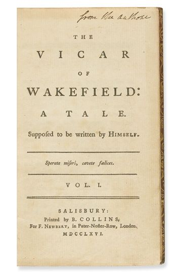 GOLDSMITH-OLIVER-The-Vicar-of-Wakefield-2-vols-1766-Apparent