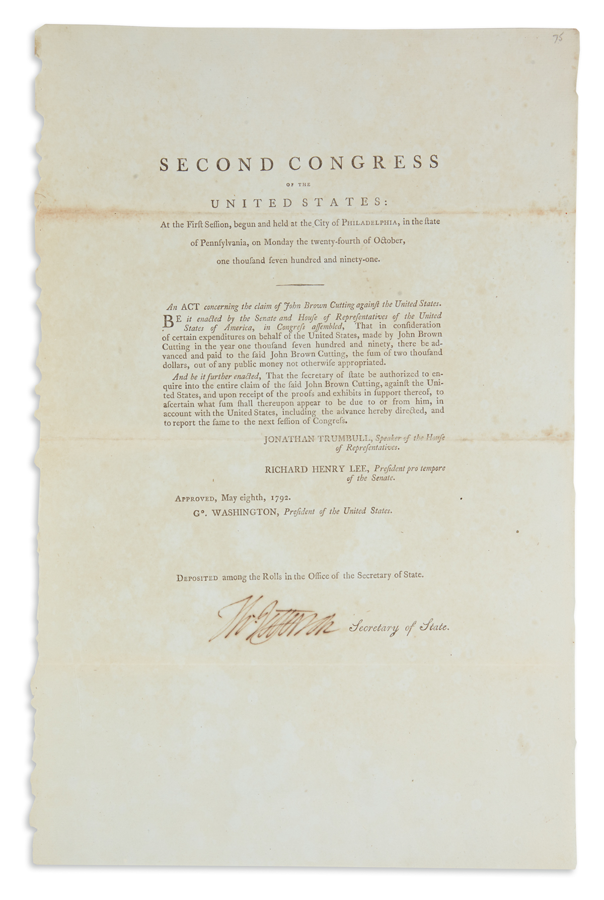JEFFERSON, THOMAS. Printed Document Signed, Th:Jefferson, as Secretary of State, an act of the Second Congress: