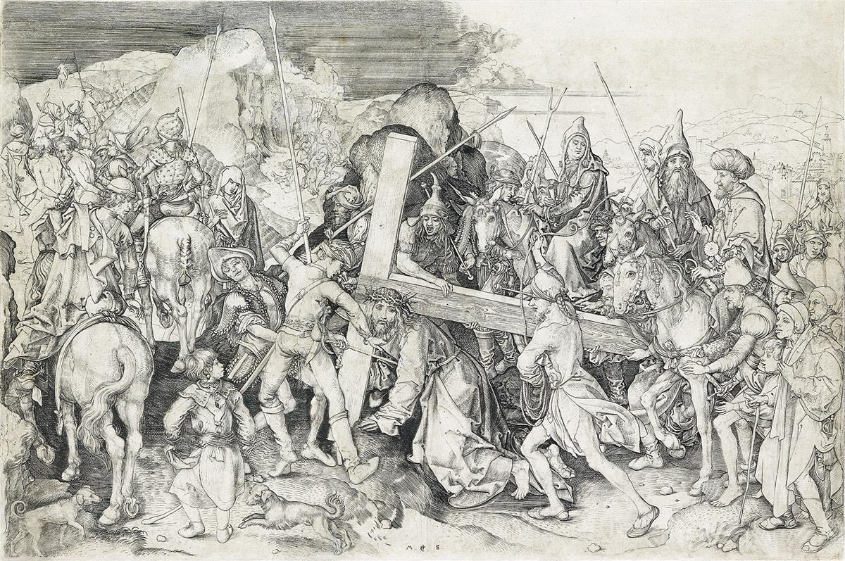 MARTIN-SCHONGAUER-Christ-Carrying-the-Cross-the-Large-Plate