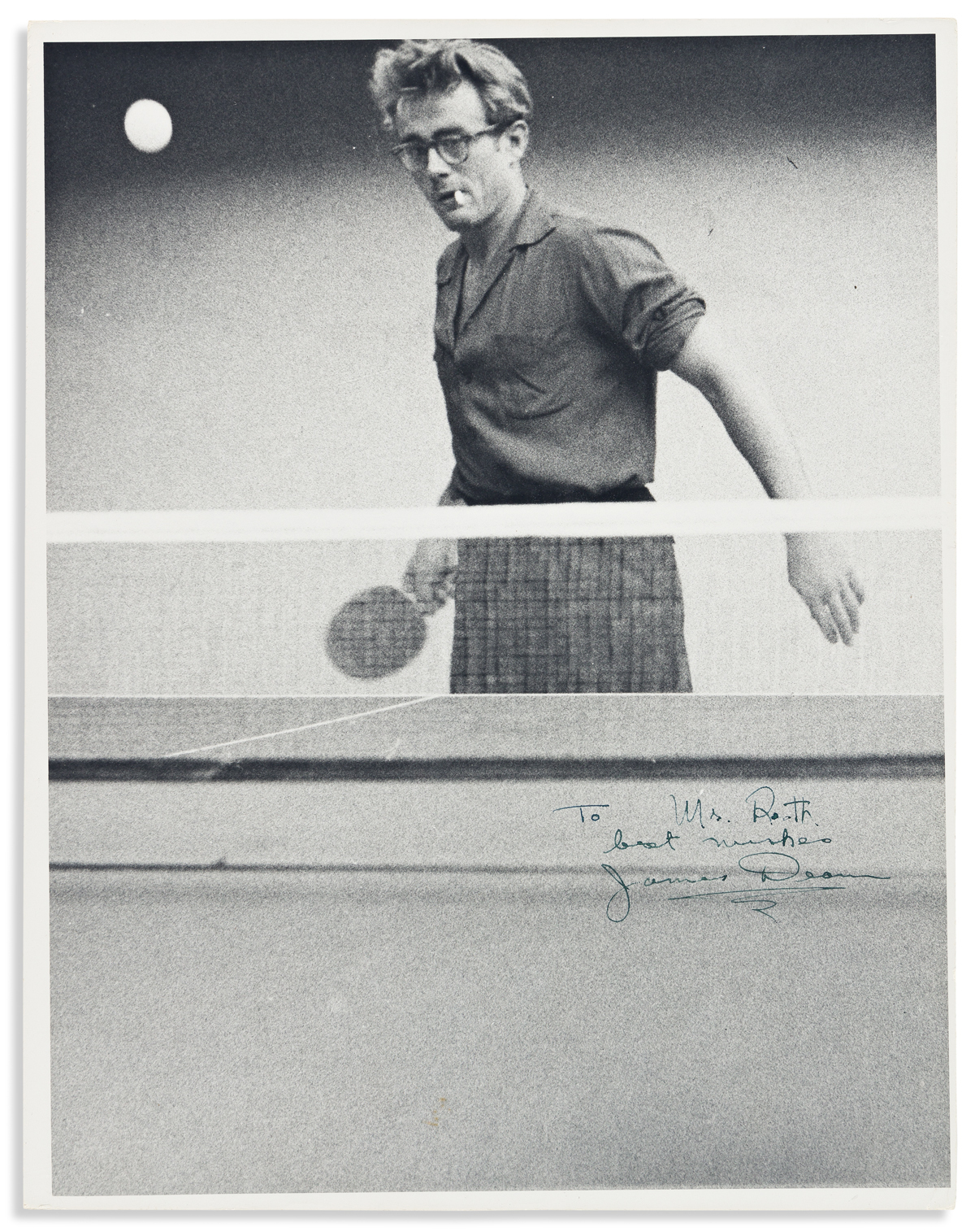 DEAN, JAMES. Photograph Signed and Inscribed, To Mrs. [Beulah] Roth / best wishes / James Dean,