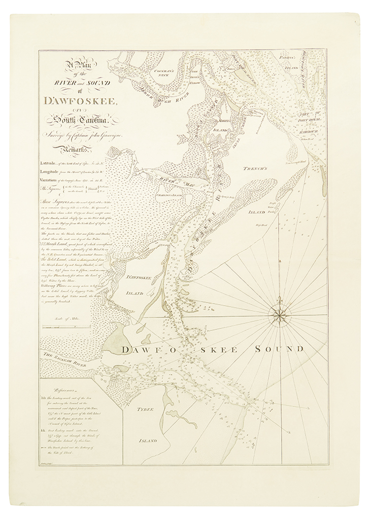GASCOIGNE, JOHN; and FADEN, WILLIAM. A Plan of the River and Sound of DAwfoskee, in South Carolina,