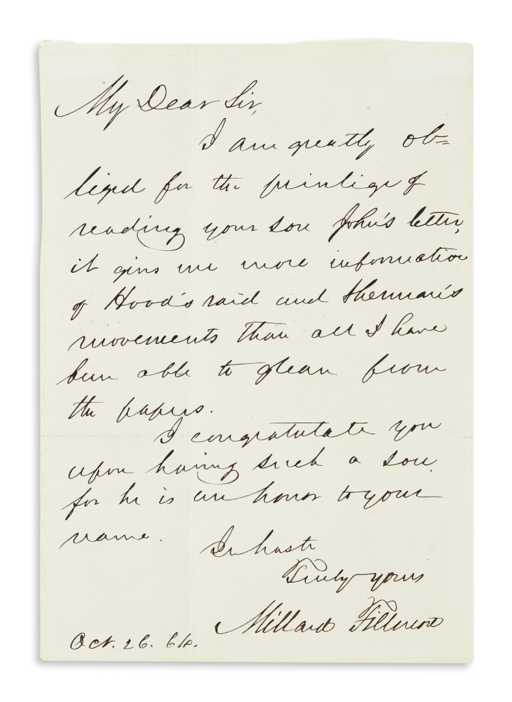 FILLMORE-MILLARD-Autograph-Letter-Signed-to-My-Dear-Sir