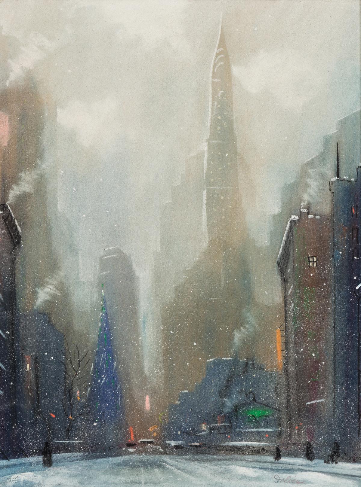 LEON DOLICE Chrysler Building at Christmas.
