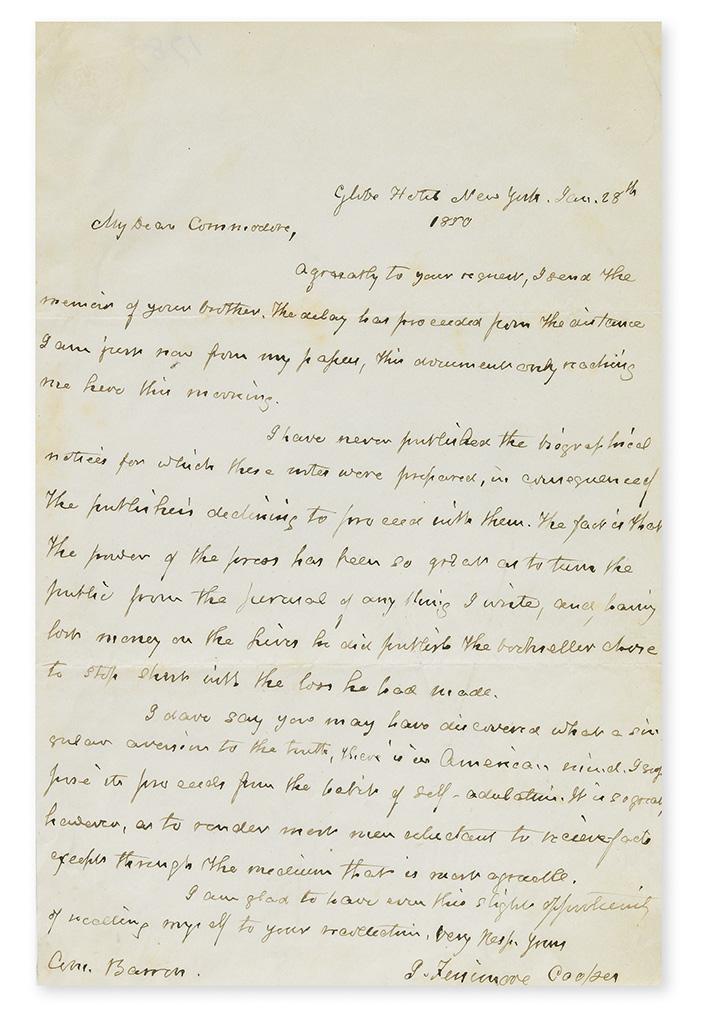 COOPER, JAMES FENIMORE. Autograph Letter Signed, J. Fenimore Cooper, to Commodore James Barron (Com. Barron),